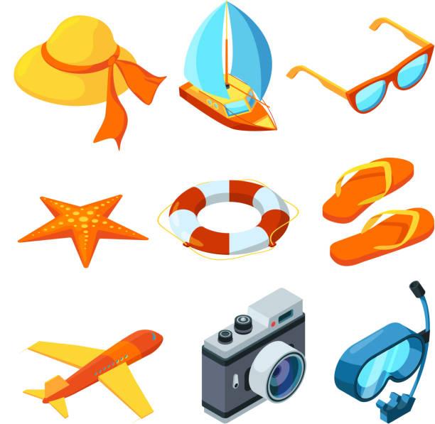 illustrazioni stock, clip art, cartoni animati e icone di tendenza di summer time isometric. travelling vector symbols - immerse in the stars