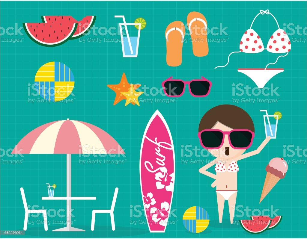 eb605f1375ad Summer time item collection sunglass bikini ice cream sandal water melon  volleyball - Illustration .