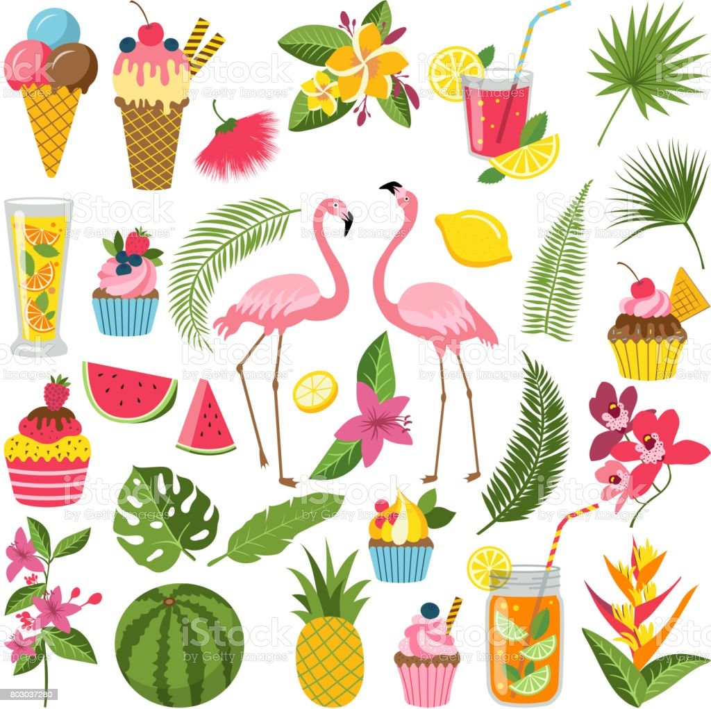 Summer time labels set for tropical party. Different icons in flat style. Drinks, watermelon, lemonade and flamingo vector art illustration