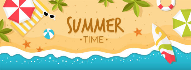 Summer Time on Beach Banner Vector of summer time on beach with beach umbrellas, waves, coconut tree and surfing board beach backgrounds stock illustrations