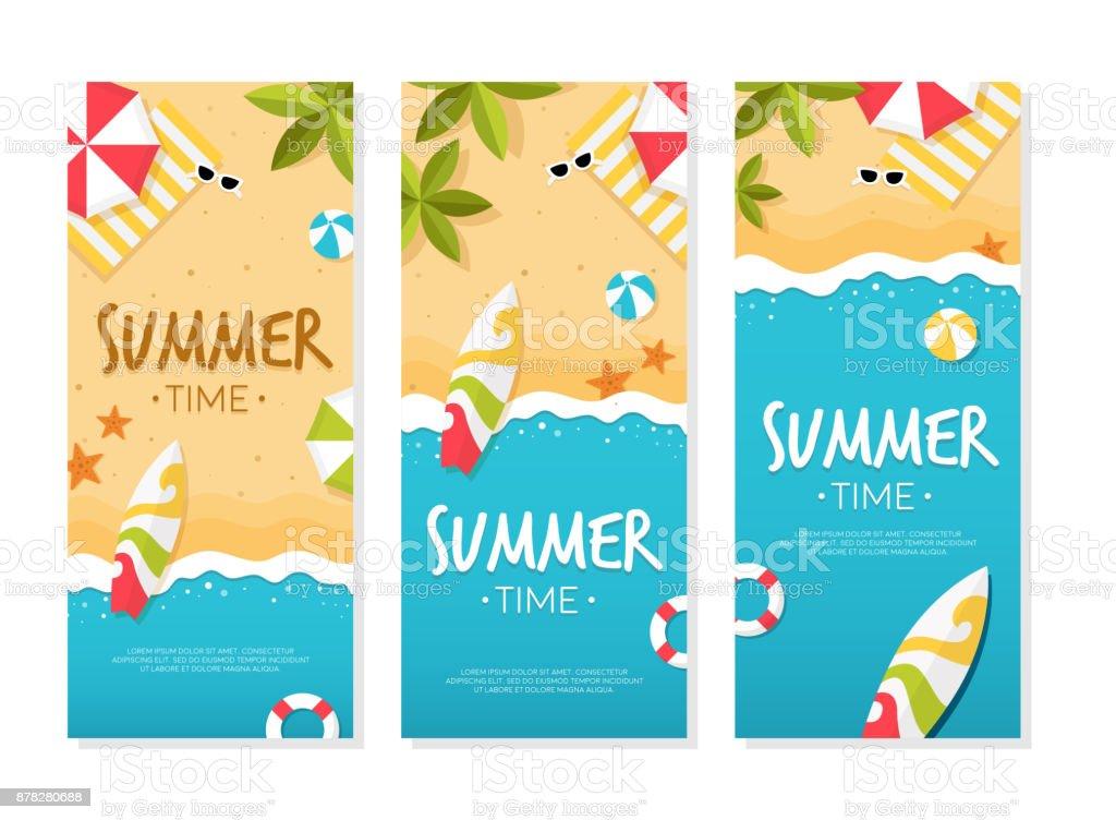 ビーチ バナーの夏の時間 ベクターアートイラスト