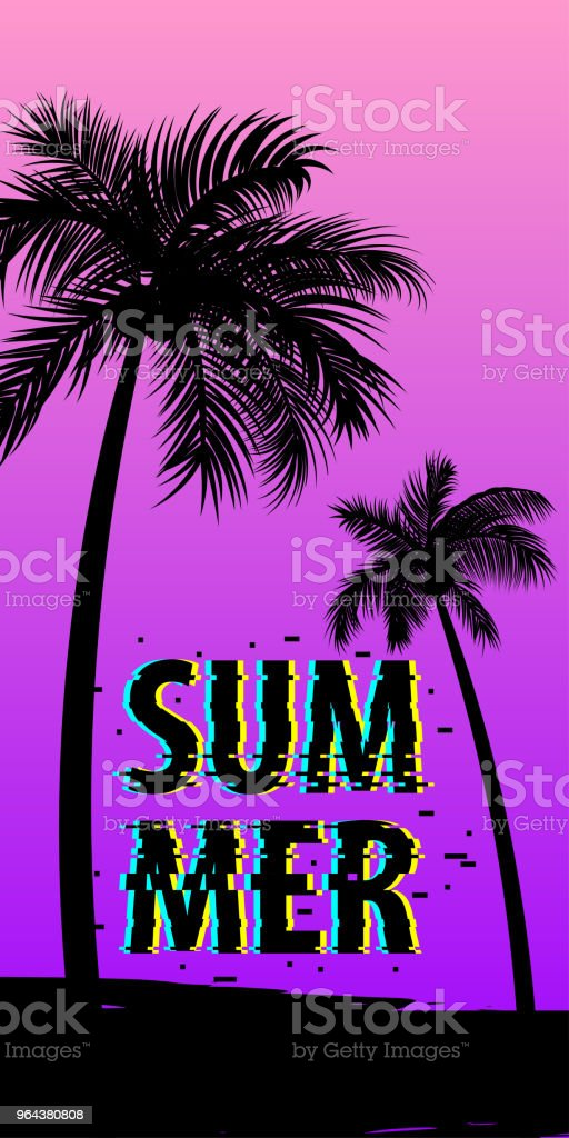 Zomertijd palm tree banner poster - Royalty-free Achtergrond - Thema vectorkunst