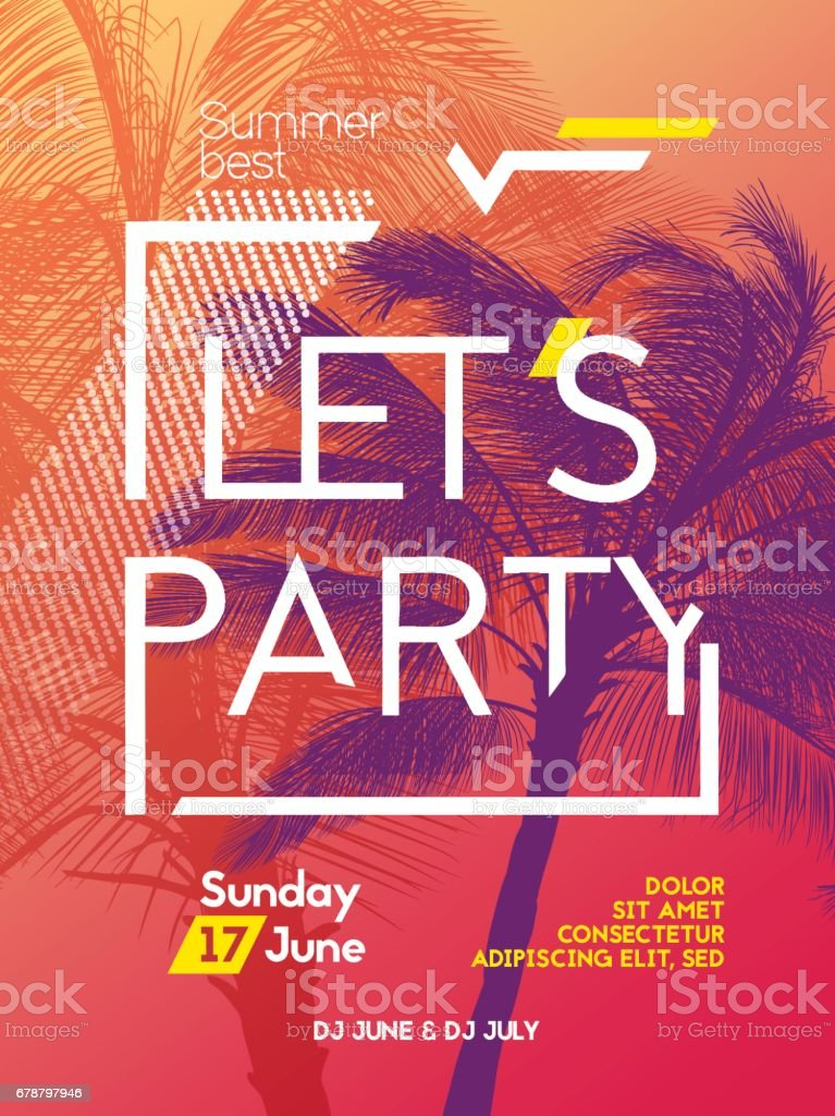 Summer time party poster design template vector art illustration