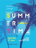 Summer time party poster design template