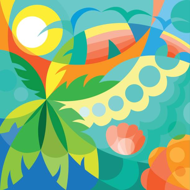 summer time party poster - jungle stock illustrations