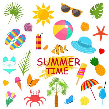 Summer Time Poster Color Elements Set. Vector