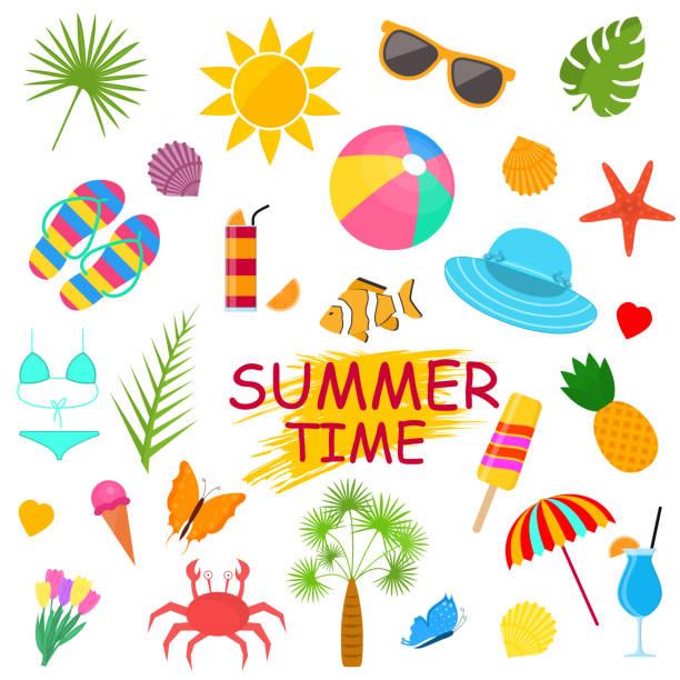 여름 시간 포스터 컬러 요소 집합입니다. 벡터 - summer stock illustrations