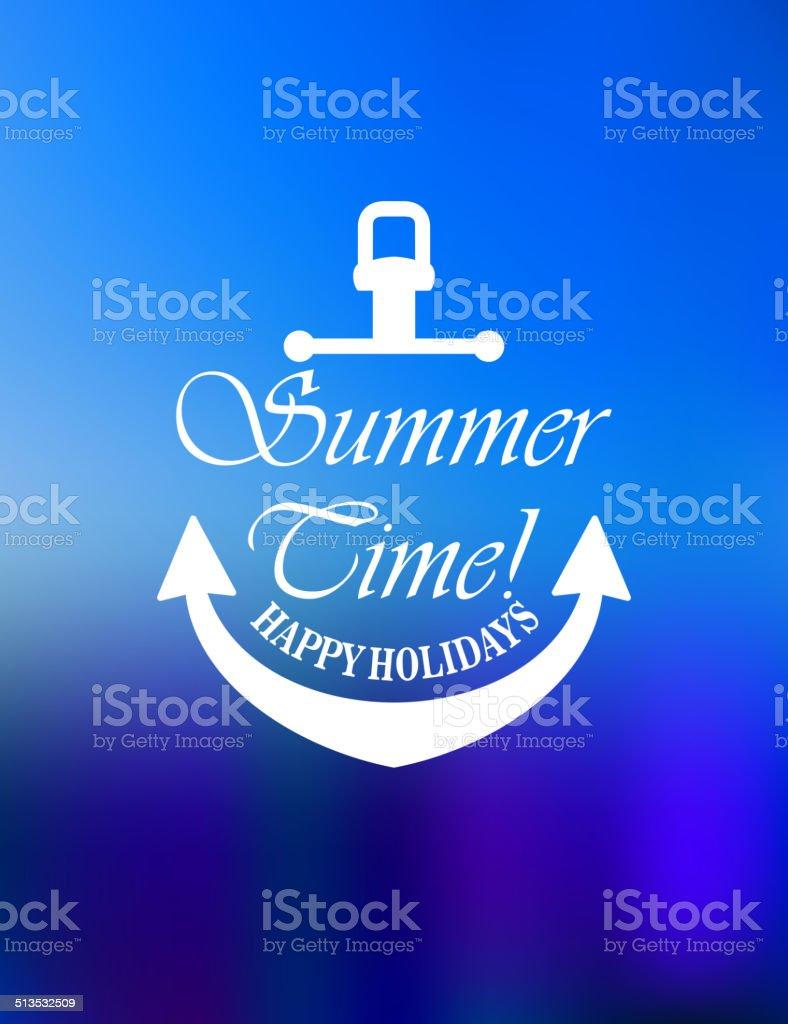 Summer time poster design vector art illustration