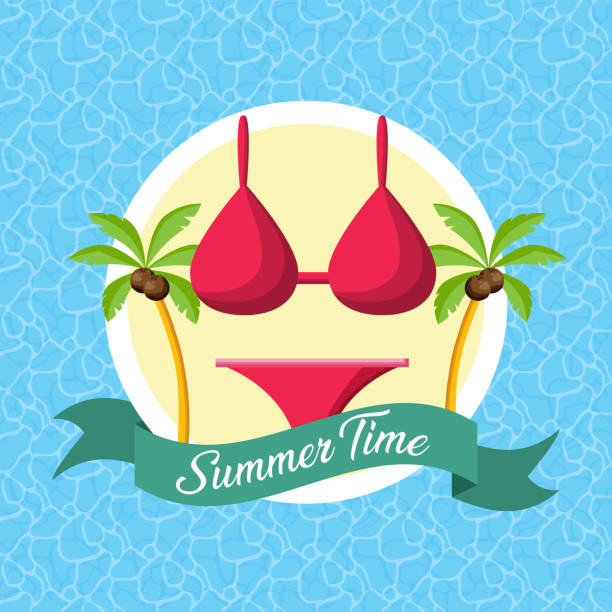 summer time poster vector art illustration