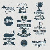 Summer Time retro style calligraphic labels.