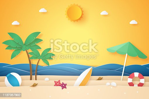 istock Summer time , sea and beach with coconut tree and stuff , paper art style 1137357902