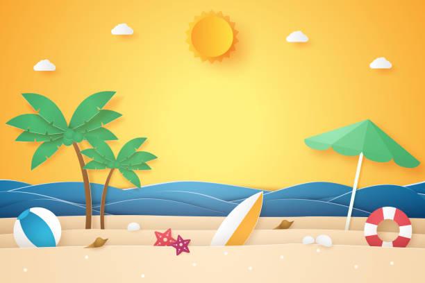ilustraciones, imágenes clip art, dibujos animados e iconos de stock de hora de verano, mar y playa con cocoteros y cosas, estilo de arte de papel - playa