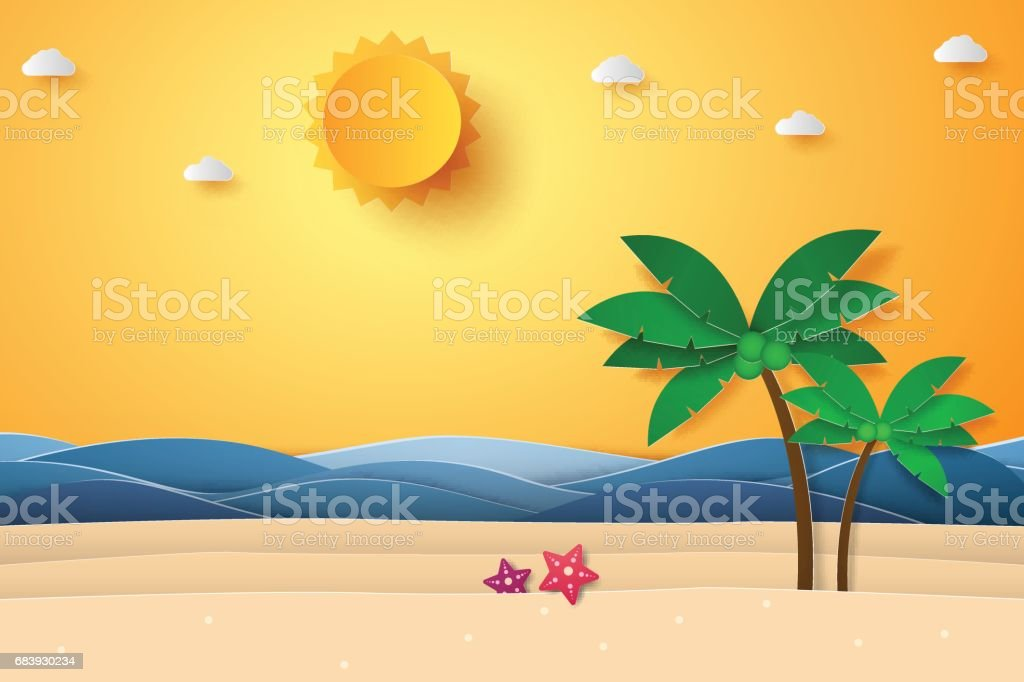 Summer time , sea with beach and coconut tree vector art illustration