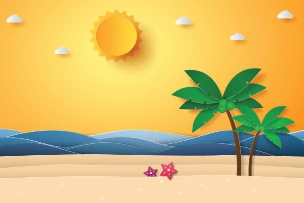 ilustraciones, imágenes clip art, dibujos animados e iconos de stock de tiempo de verano, mar, con playa y coco árbol - playa