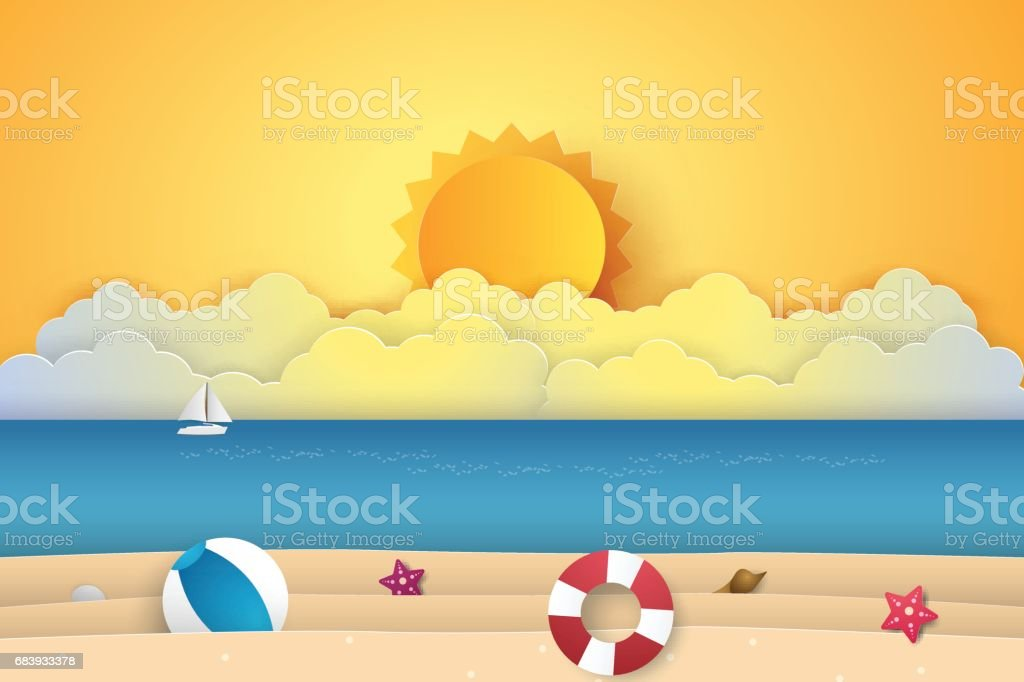 Summer time , sea with beach vector art illustration