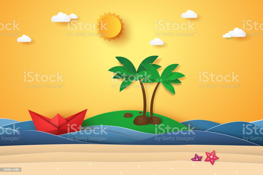 Summer Time Sea With Island Origami Boat Beach And Coconut Tree Paper