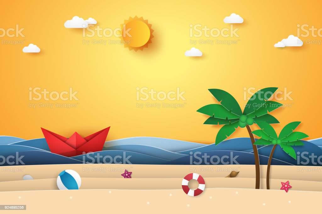 f8eec331a71cd Summer time , sea with origami boat , beach and coconut tree , paper art  style - Illustration .