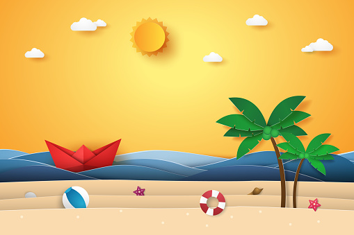 Summer time , sea with origami boat , beach and coconut tree , paper art style