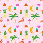 Summer time seamless pattern with tropical elements. Colorful summer tropic  icon background for girls