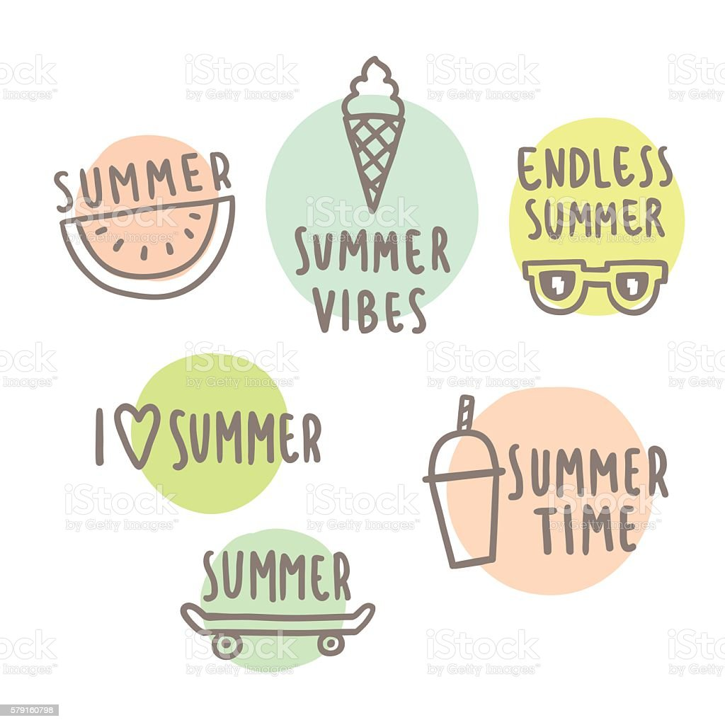 Summer time set of cute icons. vector art illustration