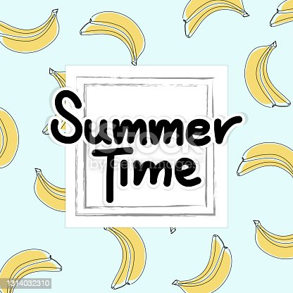 istock Summer time slogan in square frame, on blue background with banana pattern in line art. 1314032310