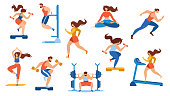 Summer Time Sport Activities Set Isolated on White Background. Sportsmen, Sportswomen Characters Workout. Athletics, Gymnastics Exercises, Yoga, Bodybuilding, Fitness. Cartoon Flat Vector Illustration