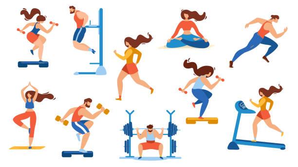 ilustraciones, imágenes clip art, dibujos animados e iconos de stock de actividades deportivas en verano están aisladas en blanco - entrenamiento con pesas