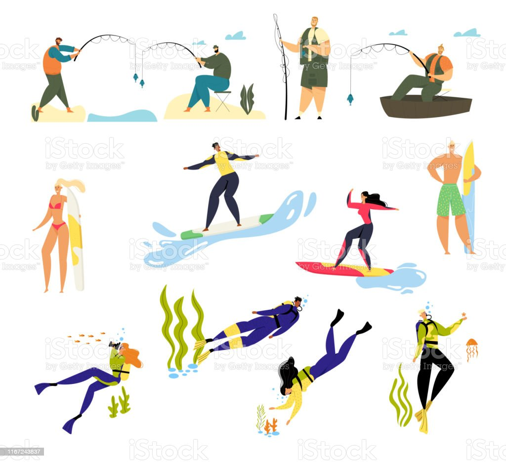 Summer Time Sports Activity and Hobby Set. Male and Female Characters...
