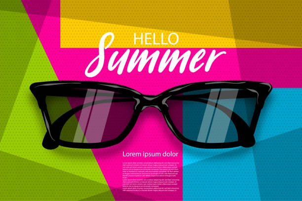 Sommer Sonnenbrille Halbton Pop-Art – Vektorgrafik