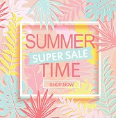 Summer time super sale banner on tropical background.