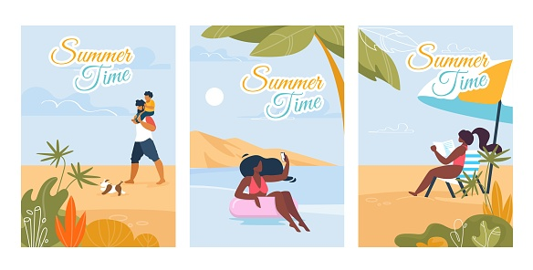 Summer Time Text Cards with Relaxing People Set