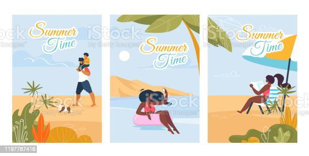 Summer time text cards with relaxing people set vector id1197787416?b=1&k=6&m=1197787416&s=612x612&h=noweyz1bghptv4bcysinp8r nqomwbbvajbtl3p kcy=