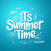 Summer Time Text Title with Hand Drawing Vector Elements