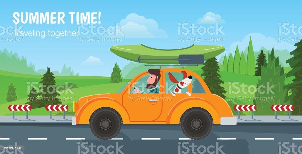 Heure d'été! Voyageant ensemble. Un homme et son chien dans la voiture à cheval sur la route et le canot moteur - Illustration vectorielle