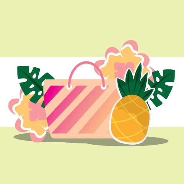 tropischer sommer zeit - gartenfolie stock-grafiken, -clipart, -cartoons und -symbole