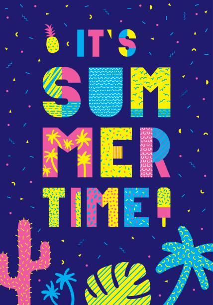 夏の時間タイポグラフィ ポスター - バブルのフォント点のイラスト素材/クリップアート素材/マンガ素材/アイコン素材