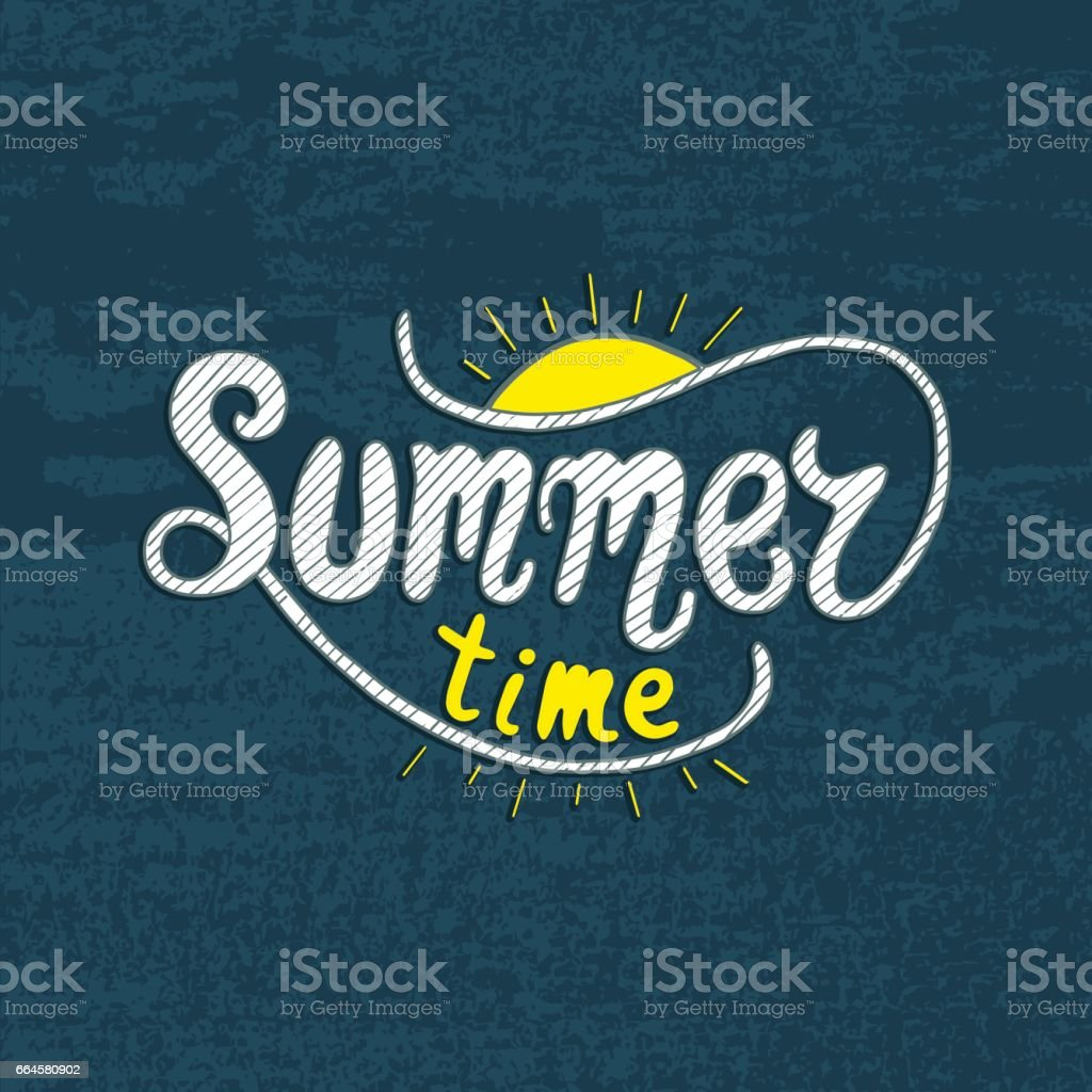 Summer time. Unique lettering poster. Vector art. Trendy handwritten summer illustration for t-shirt design, notebook cover, posters and cards. royalty-free summer time unique lettering poster vector art trendy handwritten summer illustration for tshirt design notebook cover posters and cards stock vector art & more images of art