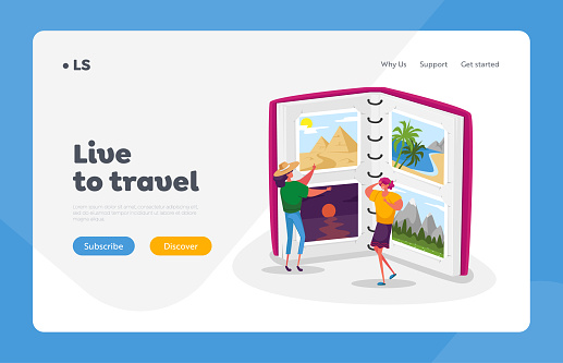 Summer Time Vacation, Memory After Trip Landing Page Template. Tiny Women Look Traveling Pictures in Huge Photo Album