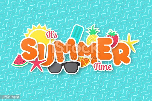 Summer time vector banner design. Paper cut style. vector illustration