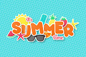 Summer time vector banner design. Paper cut style.