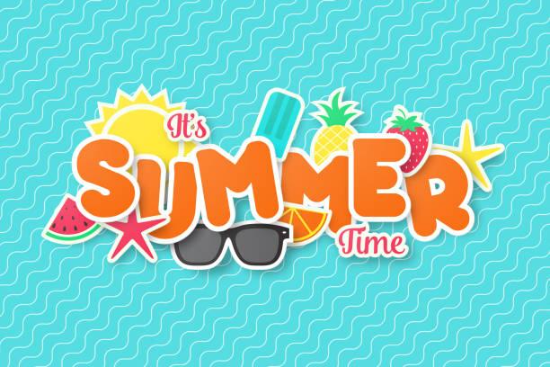 ilustraciones, imágenes clip art, dibujos animados e iconos de stock de diseño de banner vector verano. papel cortado estilo. - verano