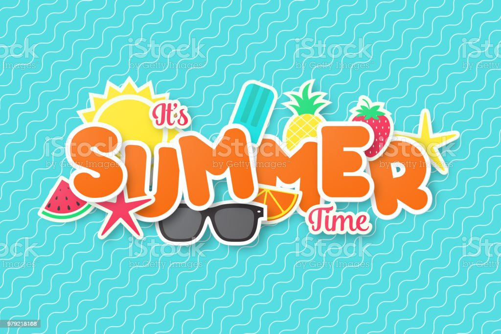Summer time vector banner design. Paper cut style. vector art illustration
