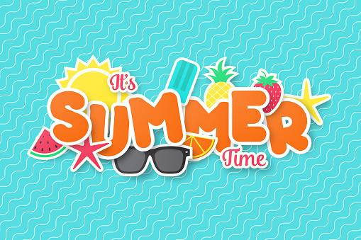 Sommar Tid Vector Banner Design Papper Skär Stil-vektorgrafik och fler bilder på Affisch