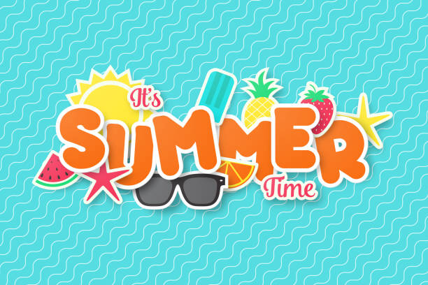 summer time vector banner design. paper cut style. - summer background stock illustrations