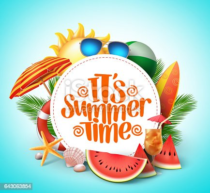 istock Summer time vector banner design with white circle for text 643063854