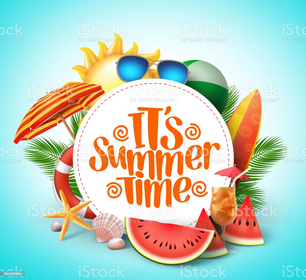 Summer time vector banner design with white circle for text vector art illustration