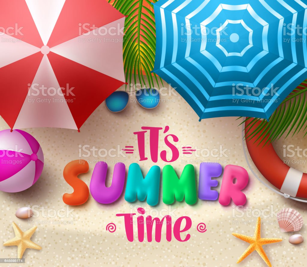 Summer time vector colorful text in sand with beach umbrellas vector art illustration