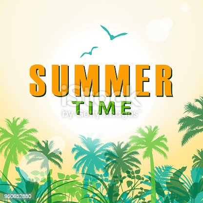Summer background with palm tree, tropical plant, birds and sun