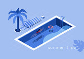 Summer time concept. Flat isometric vector illustration isolated on white background.