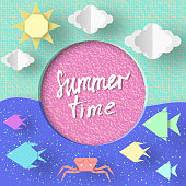 Summer Time. Paper Concept Origami Symbols and Objects with Text illustrate the Greeting of the Summertime. Fashion Background. Template for Banner, Card, Logo, Poster. Vector Illustrations Design.